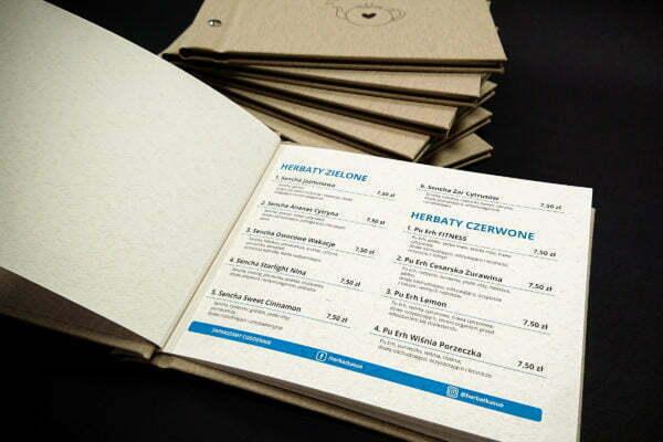 Karta menu dla kawiarnii